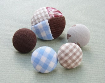Fabric Covered Buttons - Gingham Patchwork - 5pc