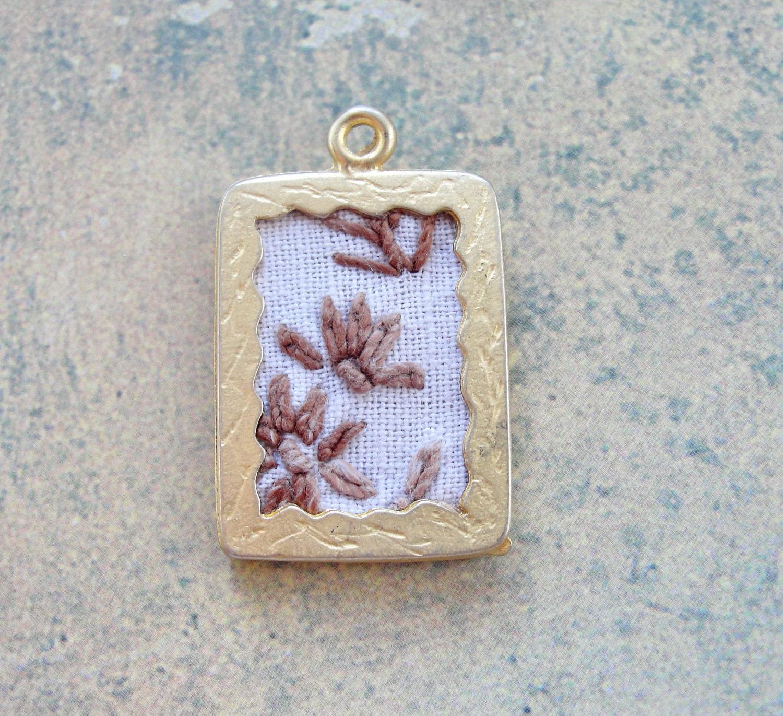 Linen Jewellery: Framed Linen Pendant
