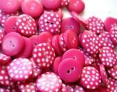 100 Buttons RASPBERRY PINK Polka Dot 1cm