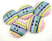 Buttons bag of 10 Sherbet Stripes Bouton for embellishments clothing bouquets