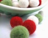 Felt Balls x60 Teeny Tiny Felt Balls in 3 CHRISTMAS colours 1cm