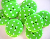 Buttons 10 BIG LIME Green Spotty  Buttons