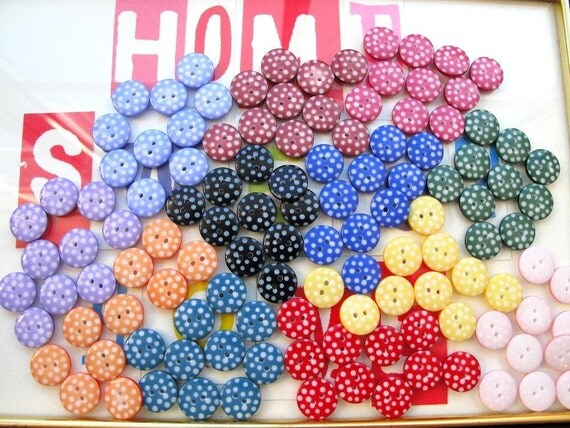 Button Bag of 130 buttons 1cm in Pretty Polka Dots Great for craft parties and clubs