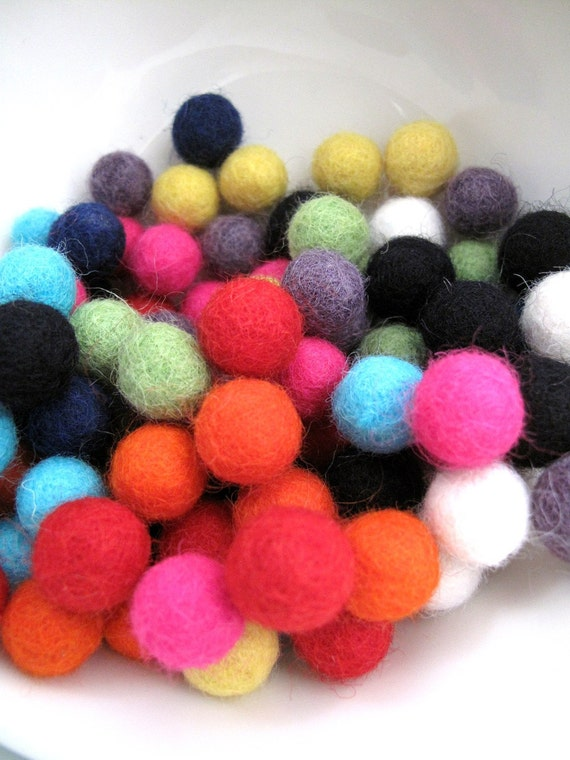 SALE Felt Balls x100 Teeny Tiny Felt Balls in 10 awesome colours 1cm Was 18GBP now 10GBP
