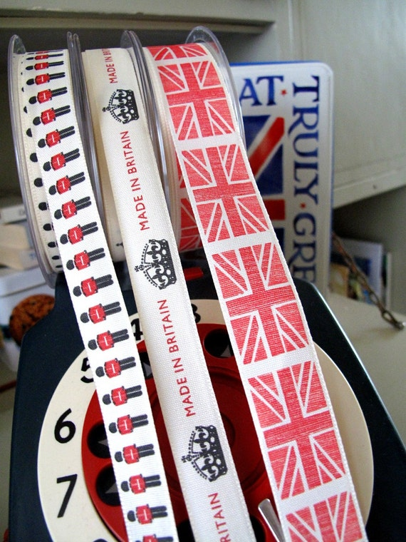3 Trims LONDON Baby mix of 3 metre Trims1 fat RED Union Jack plus soldiers and crowns