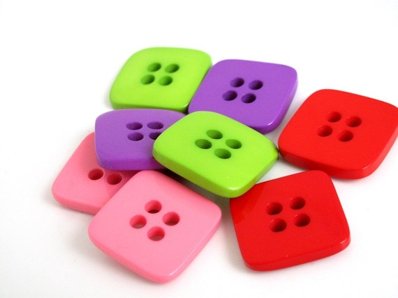 1GBP SALE Buttons Nerd Squaresx 4 big pairs in 4 colours