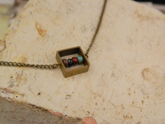 Brass Necklace--Geometric Shape Squared