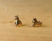 little gold fly earrings
