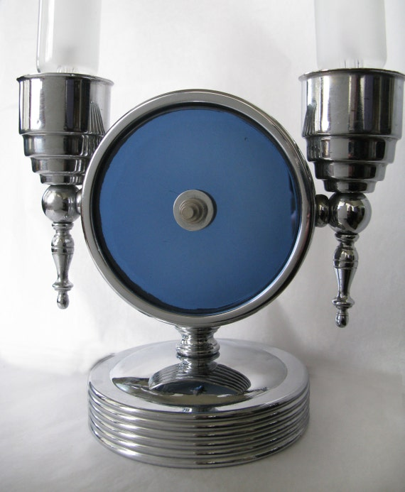 Vintage art deco chrome and blue mirror lamp