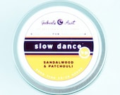 Slow Dance Sandalwood, Patchouli and Spice 6 ounce 35 hour burn time Travel Tin candle Non Toxic Eco Friendly Natural