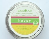 Happy Uplifting 35 Hour Burn Time 6oz Travel Tin with Basil Lime and Tangerine