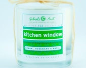 Kitchen Window Lemon Rosemary and Basil scented 60 Hour Burn Time 8oz Candle Non Toxic Eco Friendly Natural