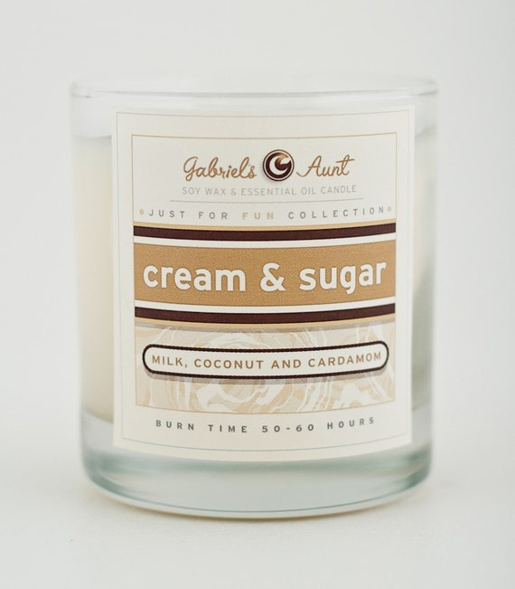 Cream and Sugar Milk Sugar and Cardamom 8oz 60 Hour Burn Time Candle Non Toxic Eco Friendly Natural