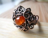 Faceted Carnelian Tangled in Copper wire Ring Size 7 1/2
