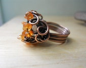 Honey Butter Jade Orange Carnelian Wrapped in Oxidized Copper Wire Ring Size 6