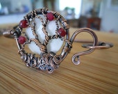 Tree of Life Bracelet Mother of Pearl and Ruby beads Wrapped in Hammered Oxidized Copper Wire