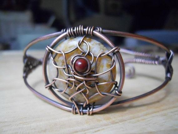 Dreamcatcher Bracelet Jasper Needle and Red Poppy