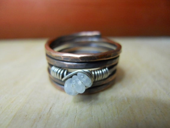 Industrial Urban Hammered Oxidized Copper Sterling Silver Moonstone Trio Accent Ring Size 7