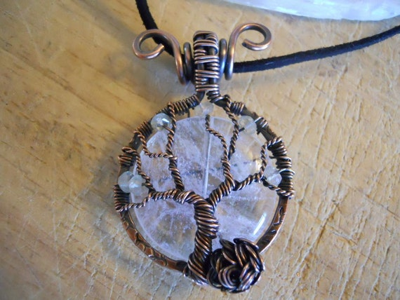Tree of Life Pendant Quartz and Green Amethyst Prasiolite Wrapped in Hammered Stamped Oxidized Copper Wire