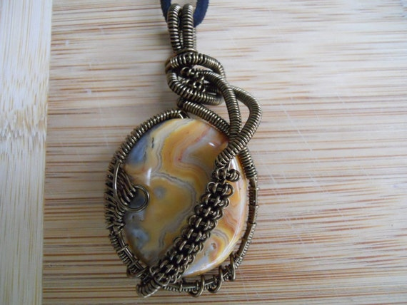 Handcrafted Pendant Crazy Lace Agate Oval Wire Wrapped in Vintage Bronze Parawire