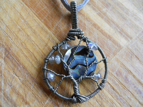Tree of Life Pendant Abalone Shell Moon with Labradorite Wire Wrapped in Gunmetal Parawire