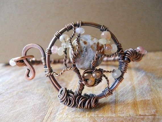 Tree of Life Bracelet Maple Opal Agate and Gemstones Birds Nest Wrapped on Hammered Oxidized Copper Wire