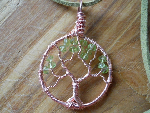 Tree of Life Pendant Green Peridot Wire Wrapped in Pink Silver Rose Gold Parawire SUMMER SALE