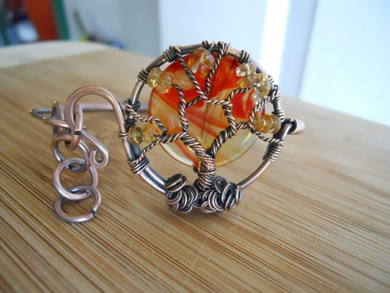 Sunrise Tree of Life Bracelet Red Orange Agate Citrine Wrapped in Oxidized Copper wire