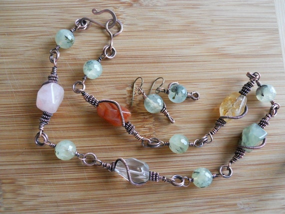 Handcrafted Oxidized Copper Wire Wrapped Necklace with Prehnite Quartz Rose Quartz Carnelian and Citrine