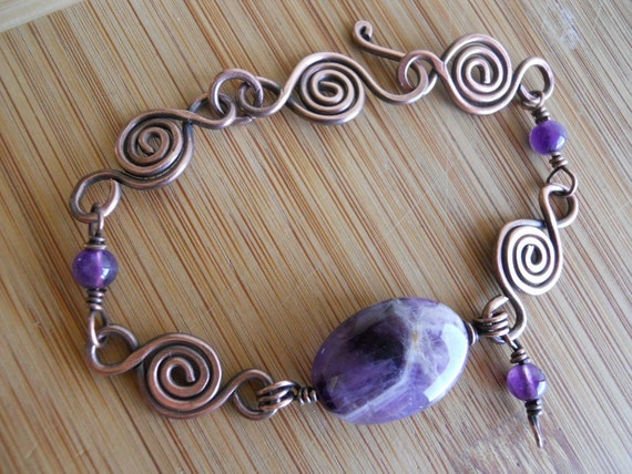 Chevron Amethyst Oval Bracelet with Purple Amethyst beads Wire Wrapped in Oxidized Copper Wire