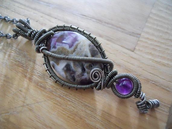 Amethyst Calcite Pendant Bead Wire Wrapped in Gunmetal Parawire