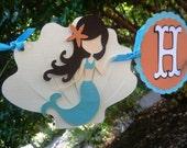 Mermaid Birthday Garland - Under The Sea Theme Banner - Any Color - Seashells Little Mermaid Pool Party Garland - Mermaid Beach Party Decor
