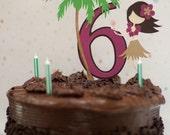 Hawaiian Luau Hula Girl and Palm tree Cake Topper - You Choose Age and Colors