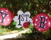 Ladybug Birthday Banner 1st birthday or Any Age Garland - Red Ladybug with Polka Dots - Garden Birthday Theme - Party Decoration Bunting