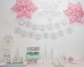 Winter Onederland Party Package -  Winter Wonderland Birthday Party Decorations - Frozen Snowflake Theme Banner - Winter Baby Shower