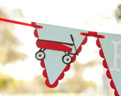 Little Red Wagon Birthday Garland - Happy Birthday Party Banner - Red Wagon Theme - Vintage Toys Flyer Inspired Birthday Party Decorations