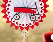 Little Red Wagon Birthday Centerpiece - Modern Rosette on a Stick - Baby Shower Decorations - Vintage Toys Party Centerpiece - Table Decor