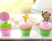 Girl Monkey Jungle Cupcake Toppers - Mod Monkey Theme Birthday - Zoo Safari Baby Shower - Zoo Friends 1st Birthday