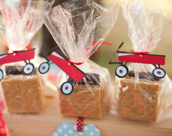 Little Red Wagon Favor Tags Set of 12 - Diecut Wagon Tags - Birthday Party Favor Tags - Baby Shower - Red Wagon Theme Vintage Toys Party