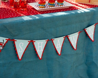 Little Red Wagon Garland - Name Banner Pennant Banner - Wagon Birthday Party Decor - Name Sign Flags for Any Age Birthday Party 1st to Adult