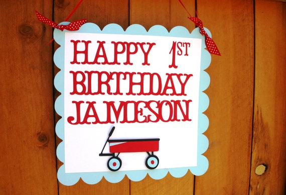 Little Red Wagon Birthday Party Sign - Welcome Guests Door Sign - Baby Shower Decorations - Vintage Toys Birthday Decorations