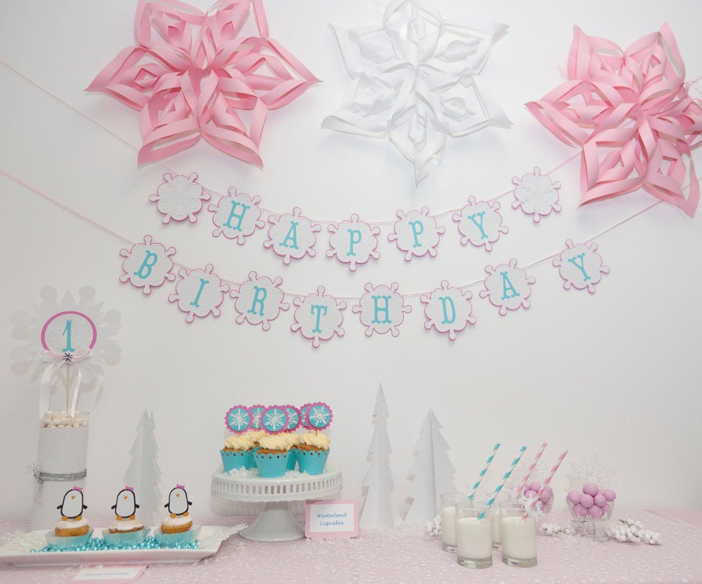 Pink Snowflake Birthday Decorations ~ Image Inspiration of Cake ...