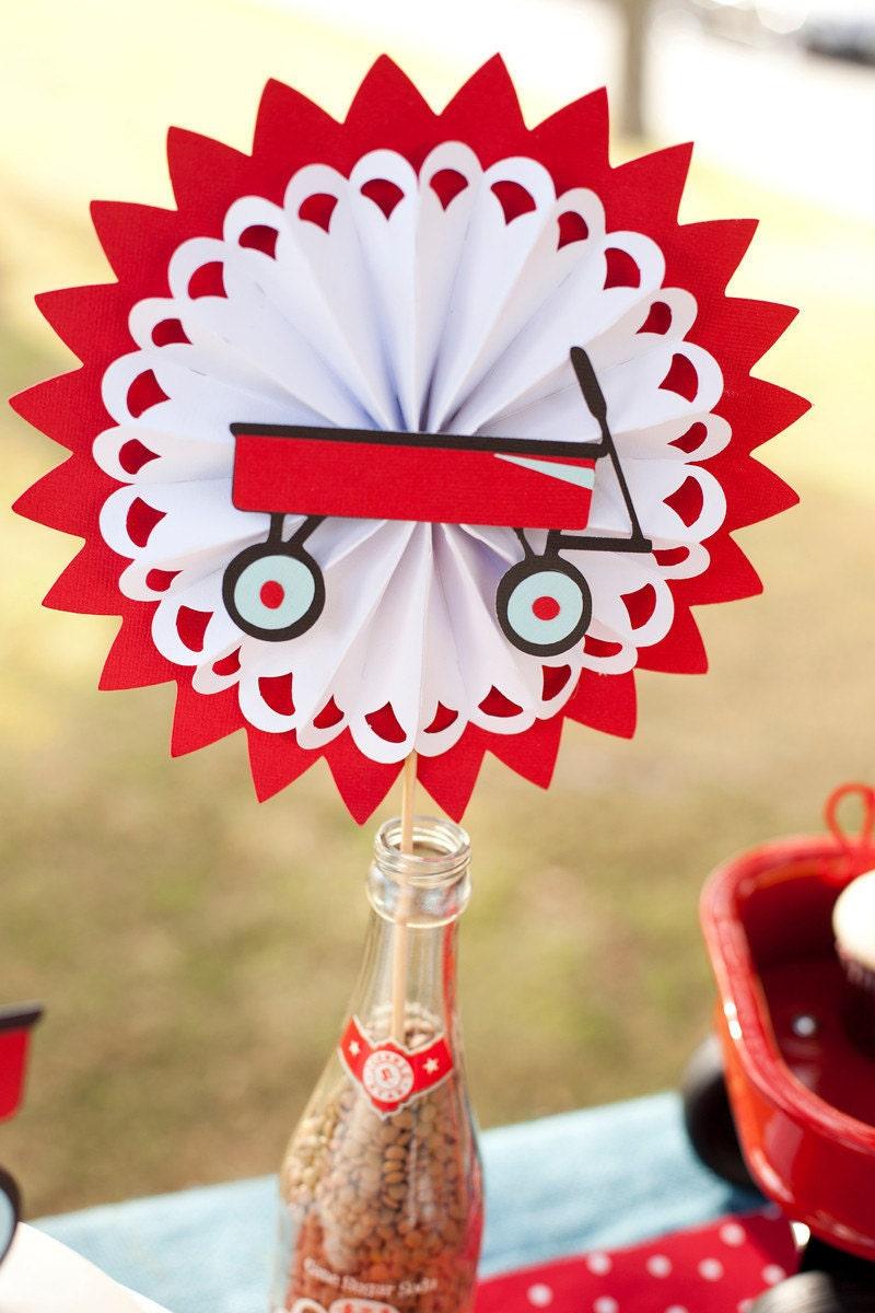 Little red wagon birthday centerpiece modern rosette on a
