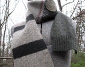 Upcycled Wool Scarf - Deconstructed, Reconstructed - Recycled Felted Sweaters