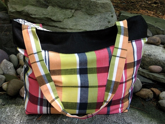 Retro Plaid Tote Bag - Eco Friendly - Recycled