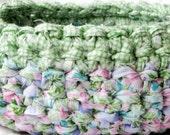 Green Gingham Picnic Rag Basket - Crochet Fabric Strips Easter Colors