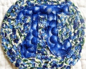 Blueberry Pi Coaster  - Fabric Coiled Blue Green Math
