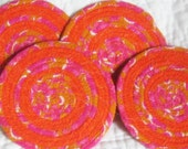 Tangerine Flamingo Coaster Set of 4 - Fabric Coiled - Orange