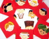 Smiles Around the World Fabric Felt Memory Matching Game - Educational for Children - Alexander Henry Fabric