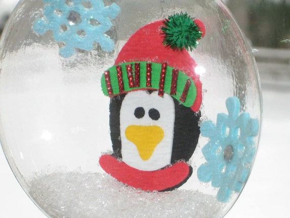 Squashed Snow Globe Glass Tree Ornament - Penguin and Snowflakes